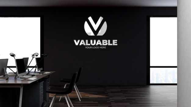 Logo mockup in the office workplace