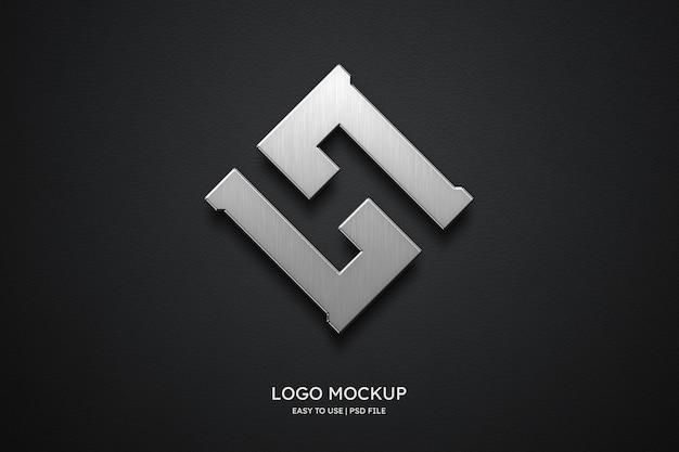 Макет логотипа на черной коже