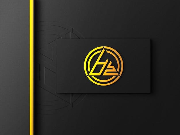 Макет логотипа на визитке с золотым эффектом