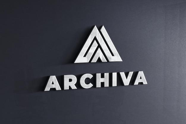 회사 어두운 회색 벽 텍스처에 로고 모형