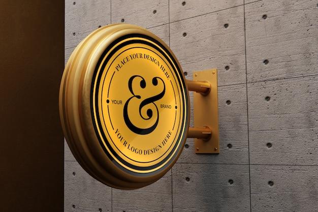 Макет логотипа на бетонной стене