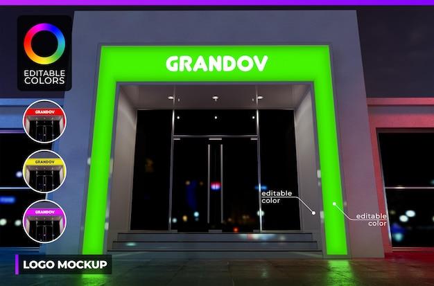 ファサードのモダンな建物の店やオフィスのロゴのモックアップ、アクリルの照明付きレンダリング