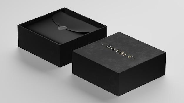 브랜드 아이덴티티 3d 렌더링을위한 럭셔리 블랙 박스에 로고 모형
