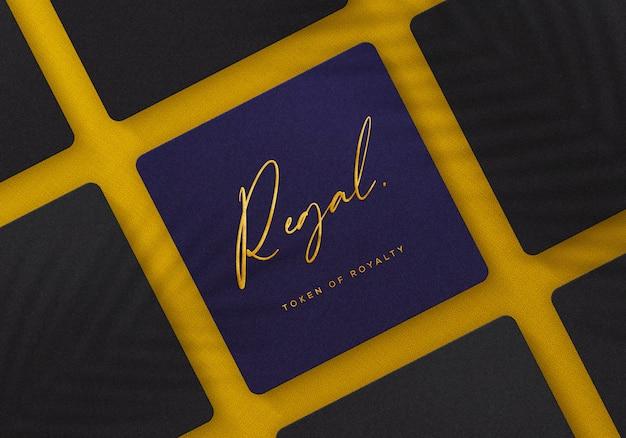 Макет логотипа на роскошной и элегантной квадратной коробке
