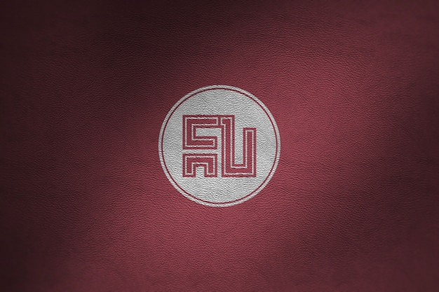 Макет логотипа на красной коже