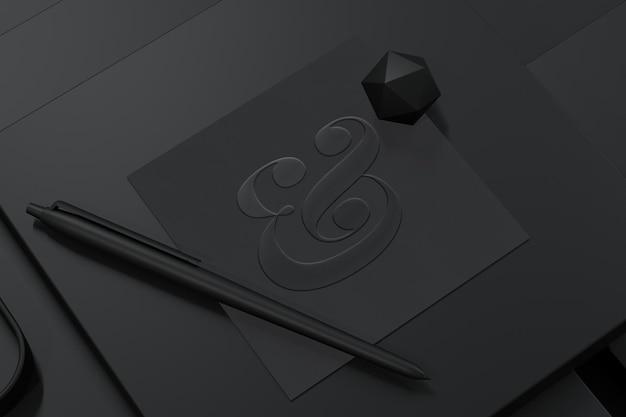 3d 렌더링으로 질감 된 정사각형 종이에 로고 모형