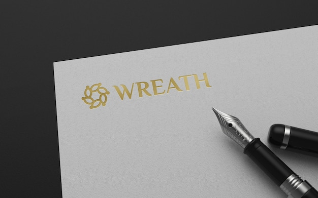 Logo mockup on paper with fountain pen