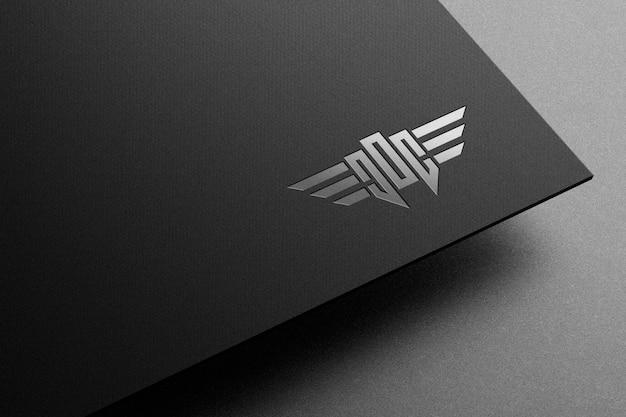 Logo mockup on paper with spot uv letterpress effect