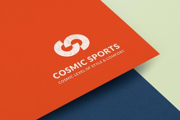 Logo mockup carta psd, disegno astratto realistico