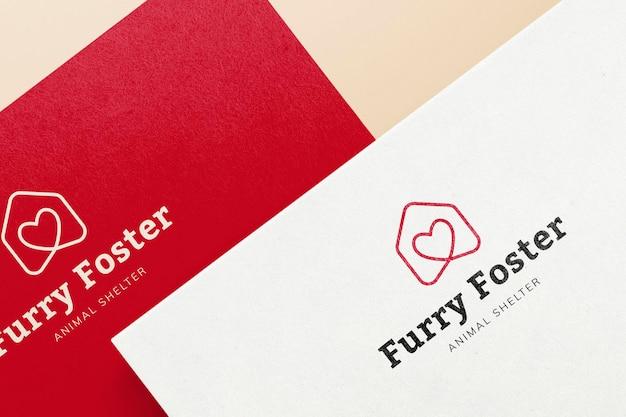 Logo mockup carta psd, design minimale realistico