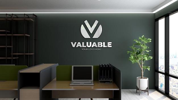 Логотип макет реалистичный знак офис черная стена