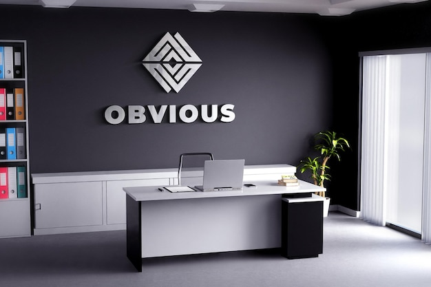 Logo mockup realistic sign office room black wall
