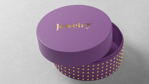 Logo mockup on round purple jewelry watch box
