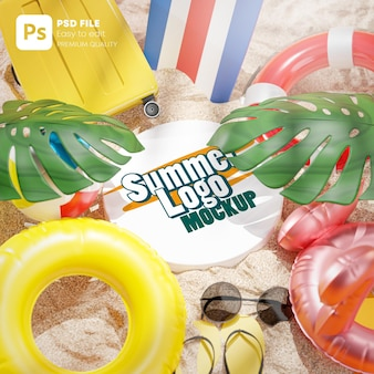 Logo mockup on sand summer beach accessories background 3d rendering