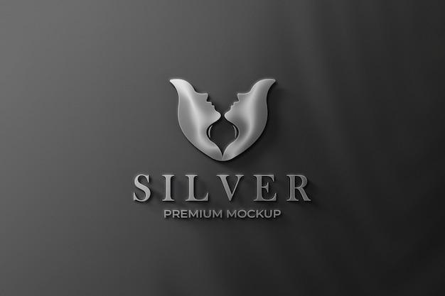 Logo mockup silver 3d modern wall