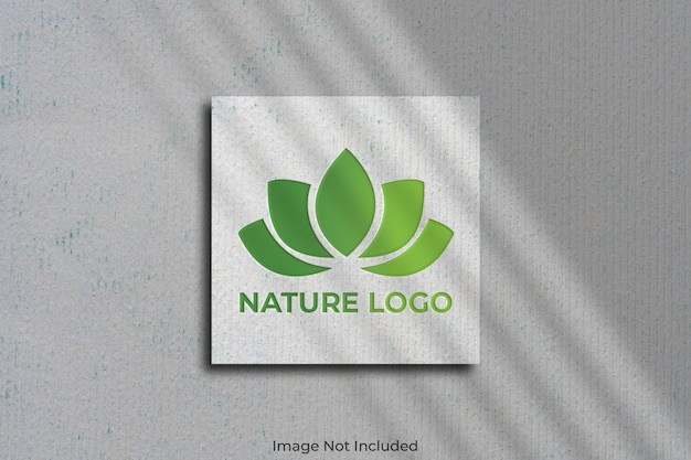 Logo mockup on square business card with shadow
