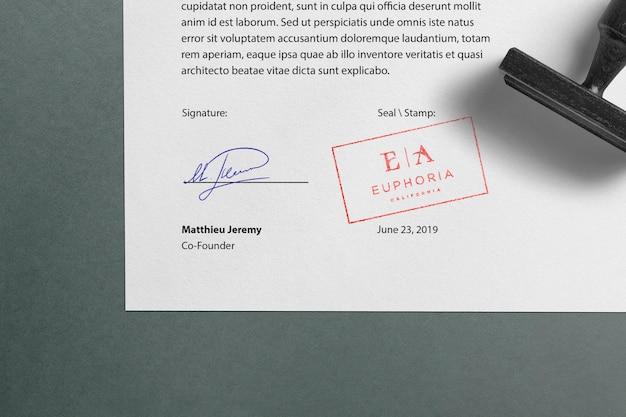 Logo mockup stamp document
