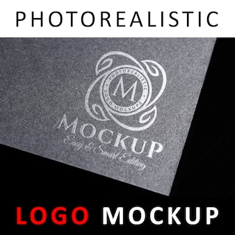 Logo mockup - stamped silver logo on dark gray card