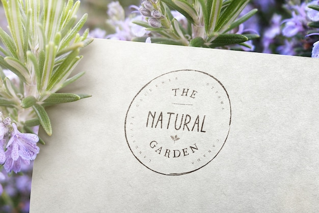 Logo mockup surrounded with rosemary