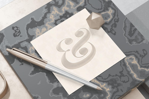 Logo mockup on textured square paper with 3d rendering