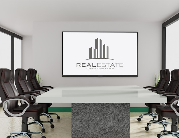Logo mockup on tv in the meeting room