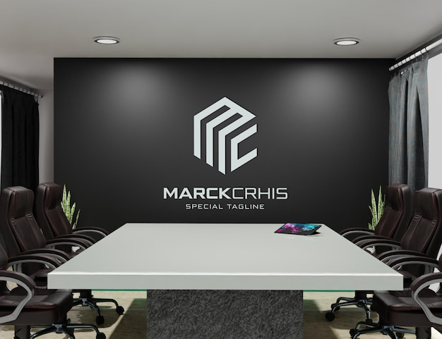 Logo mockup on the wall of the room