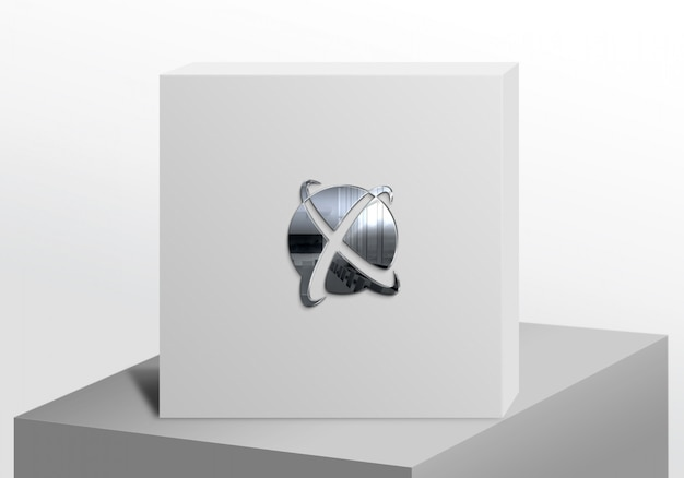 Logo mockup white box luxury silver
