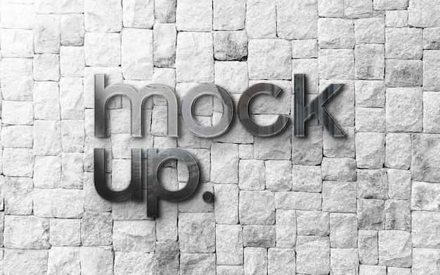 Logo mockup on white brick wall mockup