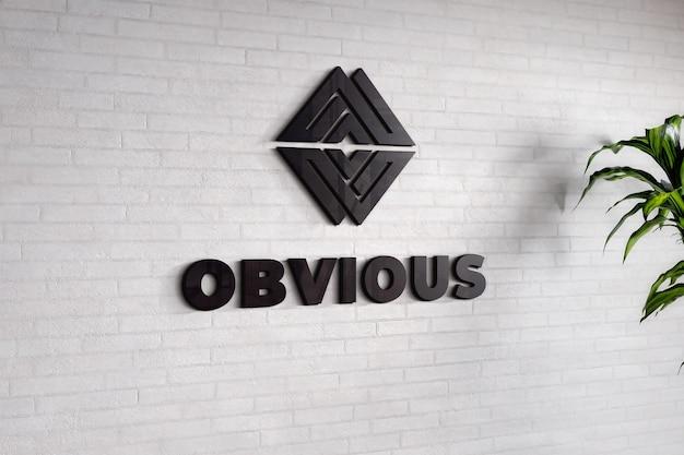 Logo mockup on white brick wall textured