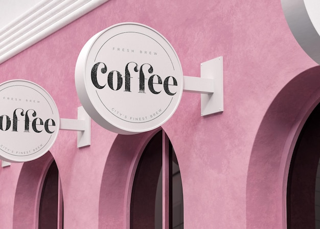 분홍색 현대 상점에 로고 모형 흰색 원형 기호