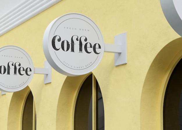 노란색 현대 상점 3d 렌더링에 로고 모형 흰색 원형 기호