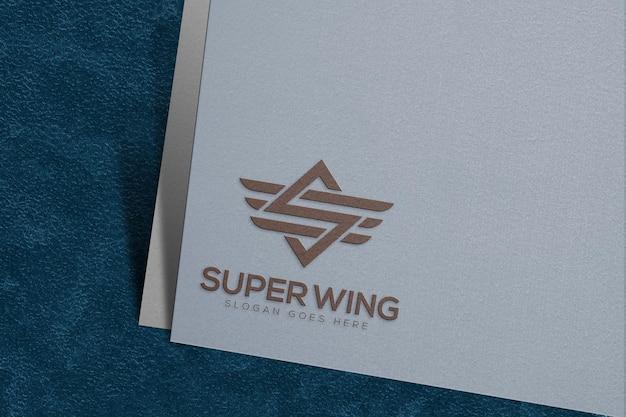 Logo mockup on white paper template