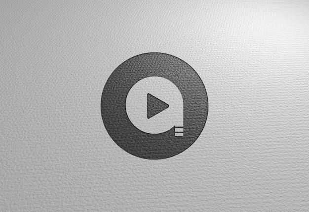 Logo mockup on white paper texture