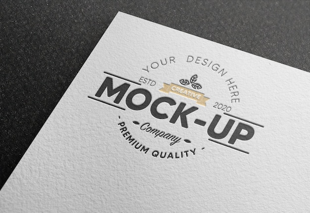 Logo mockup on white paper with debossed effect