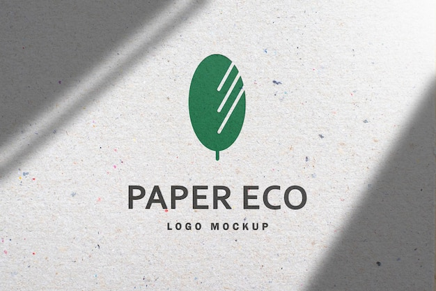 Logo mockup on white recycled paper with shadow in 3d rendering