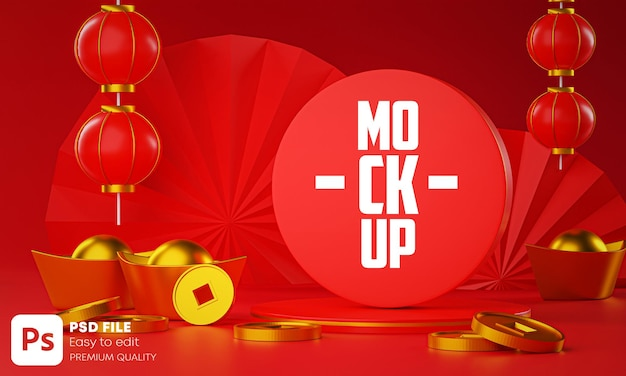 Logo mockup with chinese new year in 3d rendering