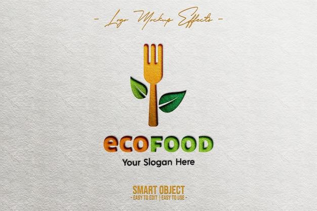 Logo mockup with ecofood logo Premium Psd