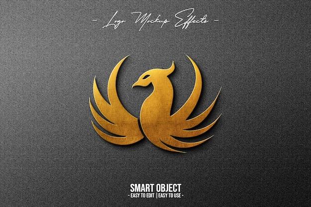 Макет логотипа с золотым фениксом