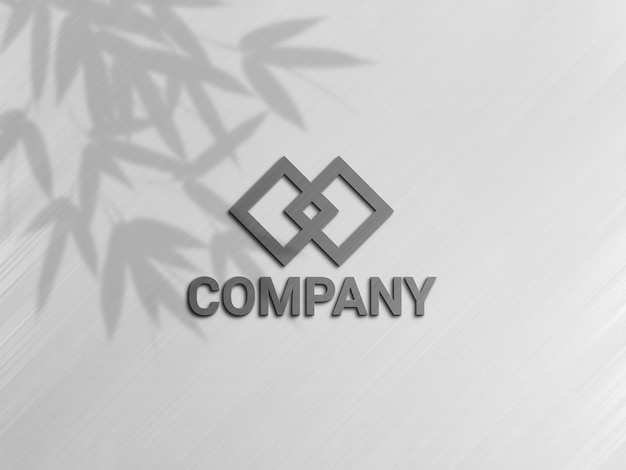 灰色のロゴと影のロゴモックアップ