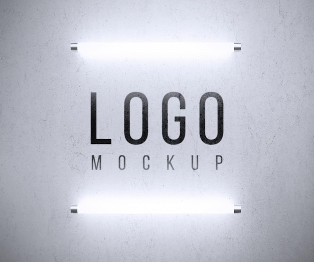 Logo mockup with lights