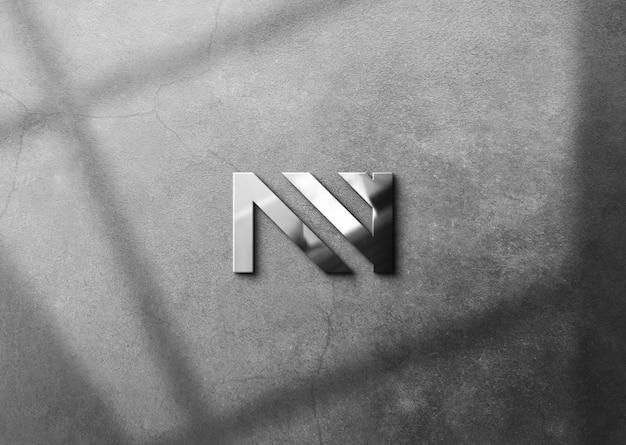 Мокап логотипа с металлическим эффектом