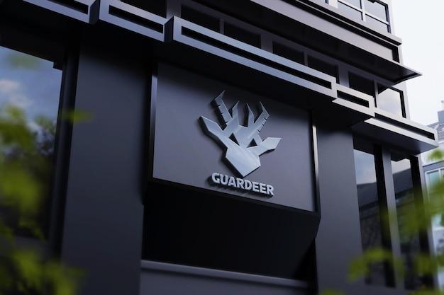 Макет логотипа с серебряным эффектом