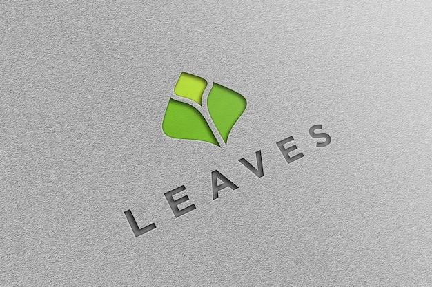 Логотип макет с белой бумагой