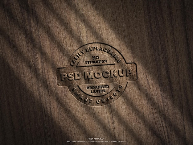 Logo mockup on wooden surface