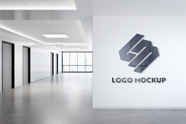 Logo on office wall mockup
