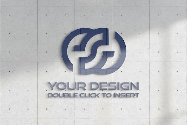 Логотип на бетонной плите офисной стены макет