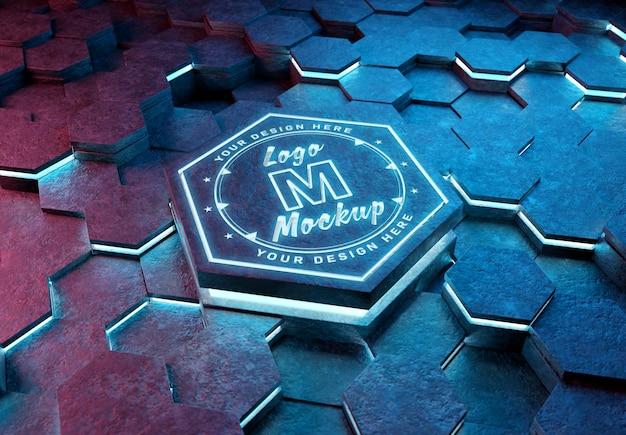 未来的な六角形台座モックアップのロゴ