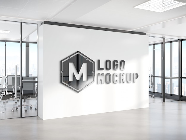 Логотип на стене офиса макет