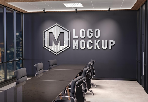 3d 금속 효과 모형이있는 사무실 벽에 로고