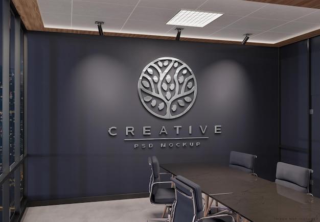 Логотип на стене офиса с 3d эффектом металла mockup